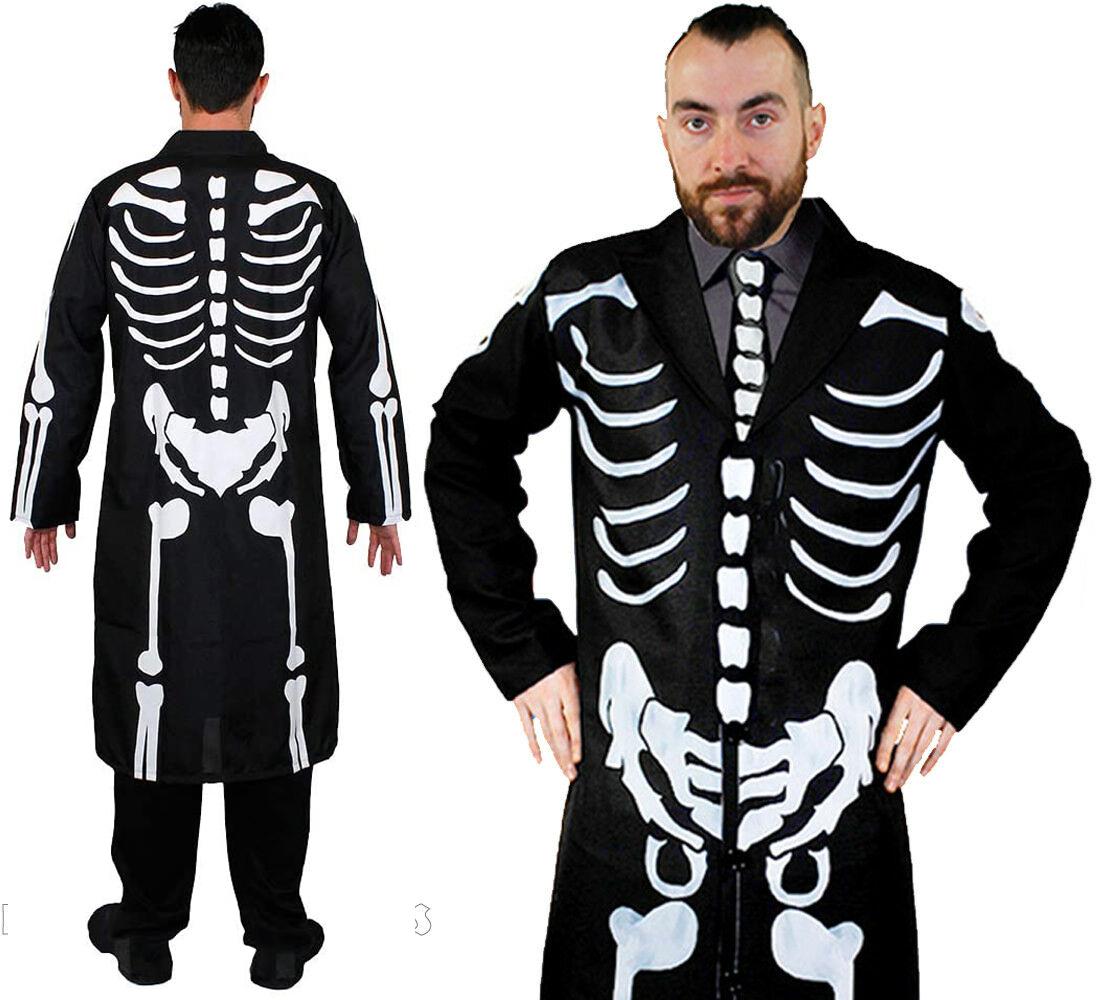James ossa scheletro Costume Da Uomo Lungo Giacca e cravatta Bone Stampa Costume