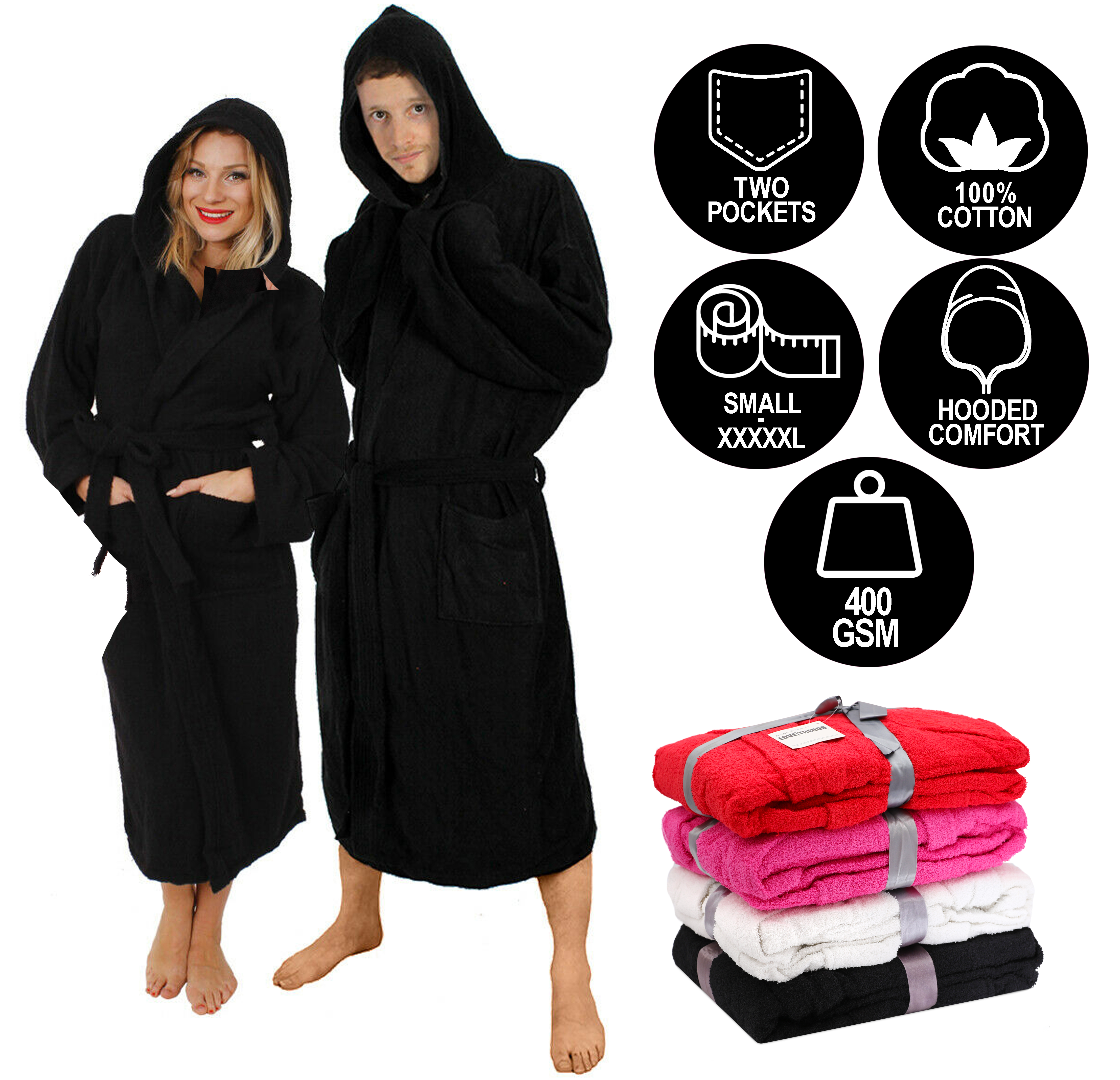 Black Hooded Bathrobe 100 Cotton Heavy Towelling Unisex Hospital Gown S Xxxxl Ebay