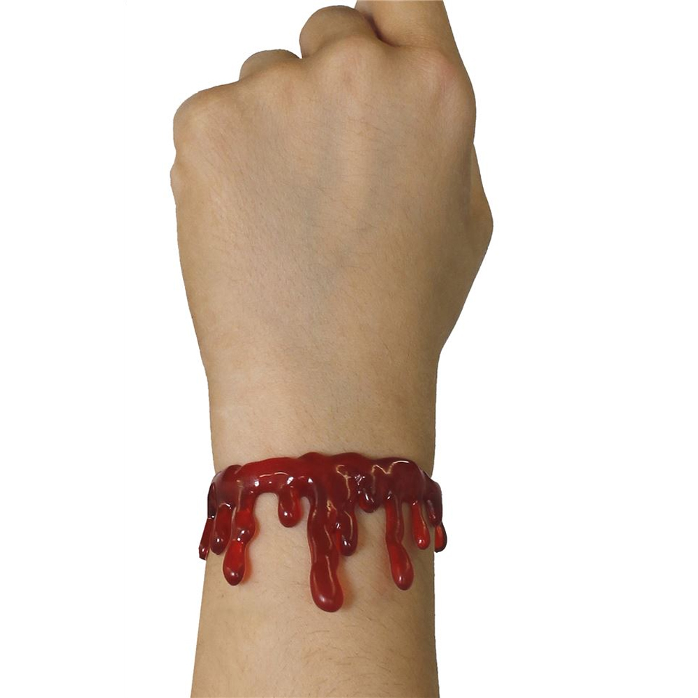 BLOOD NECKLACE AND BRACELET HALLOWEEN FANCY DRESS HORROR LATEX BLOODY CHOKER